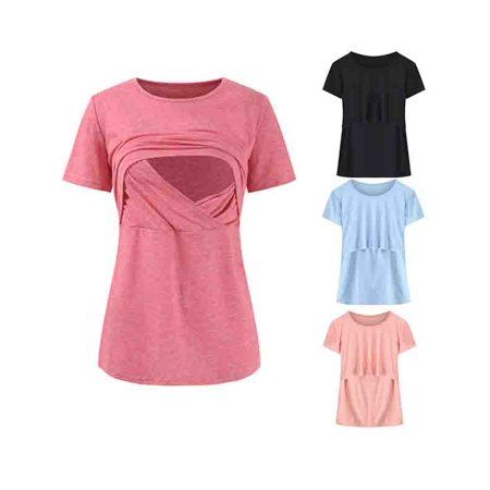 Women/'s Round Necked Nursing T-shirts Maternity Breast Feeding Clothing