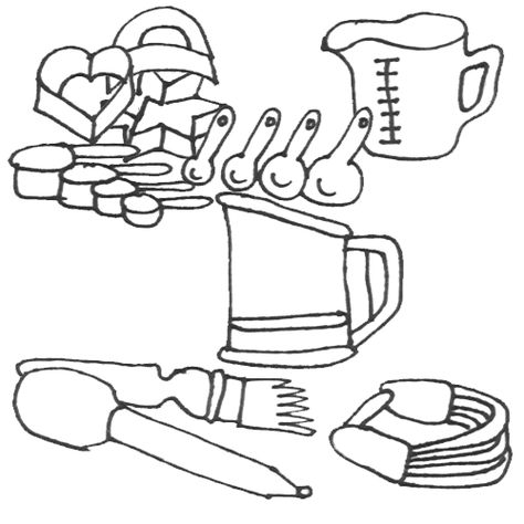 Kitchen Utensils Coloring Pages Food Pinterest 11
