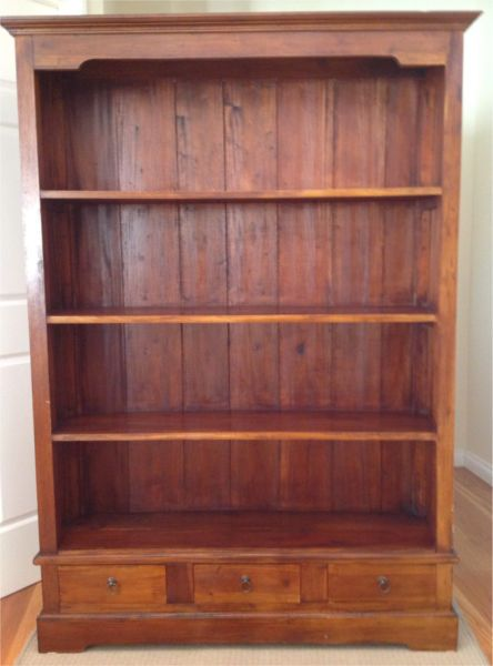 Bookcase Solid Wood With 3 Drawers Bookcase Shelves Solid Wood
