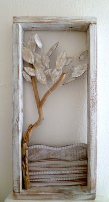 """angela fattori ...looks like some driftwood, distressed wood and fabrics...""""These are a few of my favorite things.....""""   vwr"""