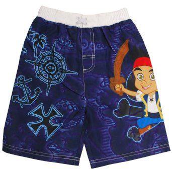 a25a781e8f4de Amazon.com: Disney Boys 2T-4T Jake And The Neverland Pirates Swimming Trunks:  Clothing