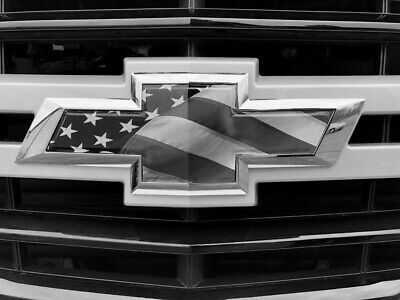 Chevy Tahoe Emblem Bowtie American Flag Overlay Decals Stickers Black White American Flag Decal Chevrolet Emblem Chevy Silverado Accessories