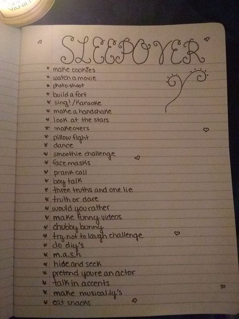 BEST SLEEPOVER IDEAS EVER! This sleepover 'to do' list is full of adorable ideas of how to have fun! If you're kids are planning a sleepover why not suggest they make a list of their own? SAVE to your ideas board! Re-pin to share with fellow parents.