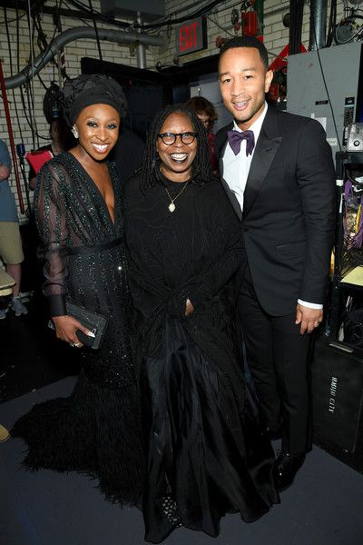 Cynthia Erivo, Whoopi Goldberg, and John Legend attend the 2017 Tony Awards at Radio City Music Hall.
