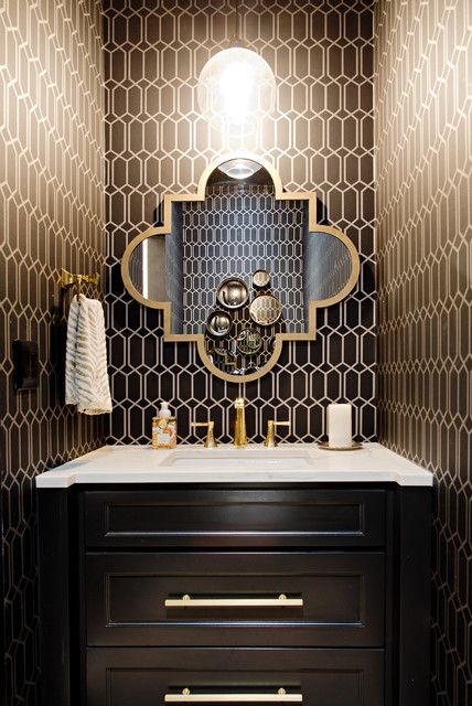 Black White And Gold Living Room With Images Powder Room