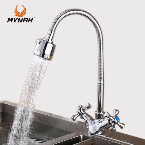 Mynah Kitchen Faucet Double Handle Kitchen Sink Faucet Mixer Cold
