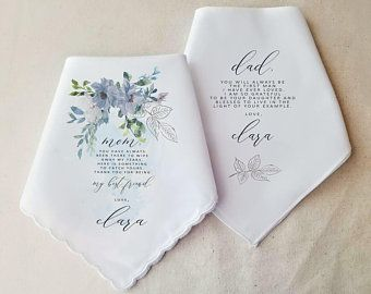 Mother and Father of the Bride Wedding Handkerchief Set