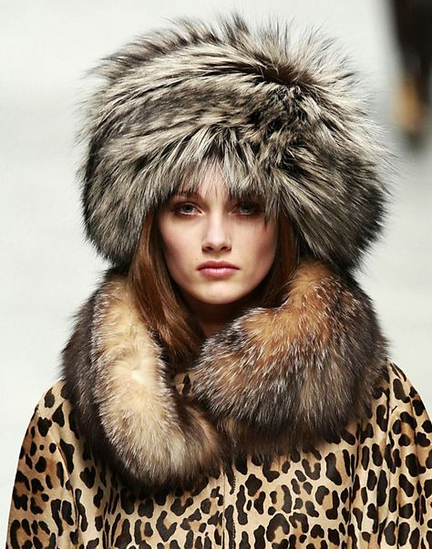 fur hat, collar and coat