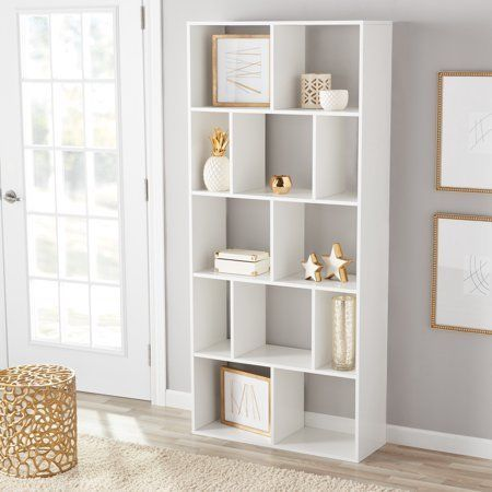 Secure This Unit To The Wall With Included Hardware Mainstays 12 Cube Bookcase White Or Espresso Alternating Shelf Cube Bookcase Square Shelf White Bookcase