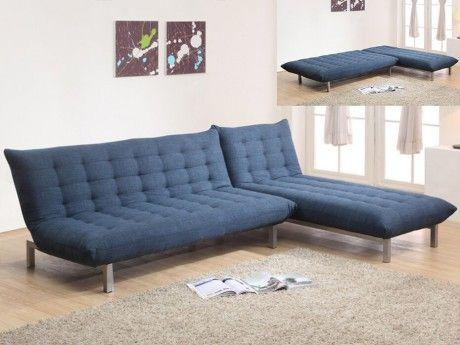 Wohnlandschaft Schlafsofa Stoff Hornet Blau Canape Modulable