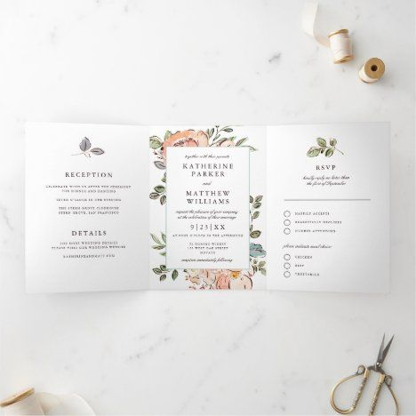 Romantic Sketchbook Florals All In One Wedding Tri Fold Invitation Zazzle Com In 2020 Tri Fold Wedding Invitations Fun Wedding Invitations Modern Wedding Invitations