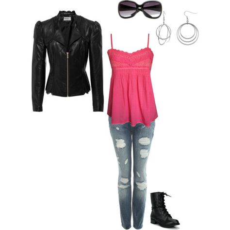 Leather jacket, combat boot, with a touch of pink, created by alysonedie