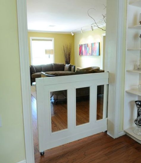 Pet Gates: 6 Clever & Creative Solutions - this is a great idea! It's a pocket door pet gate!