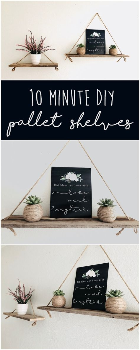 This 10 minute DIY pallet project is great for any home DIY Pallet Shelves DIY Pallet Project DIY Hanging Shelves Make your own pallet shelves easy Pallet Shelves Diy, Diy Hanging Shelves, Easy Shelves, Diy Wall Shelves, Bedroom Wall Shelves, Diy Wooden Shelves, Diy Shelving, Floating Shelves Diy, Wooden Diy