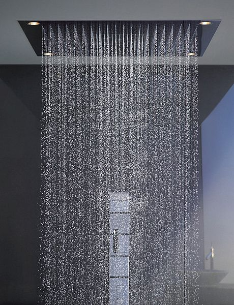 ceiling mounted rain shower head system. shower by philippe starck  I am loving this rain drop head Not eveyone loves these ceiling mounted heads but personally i a fan
