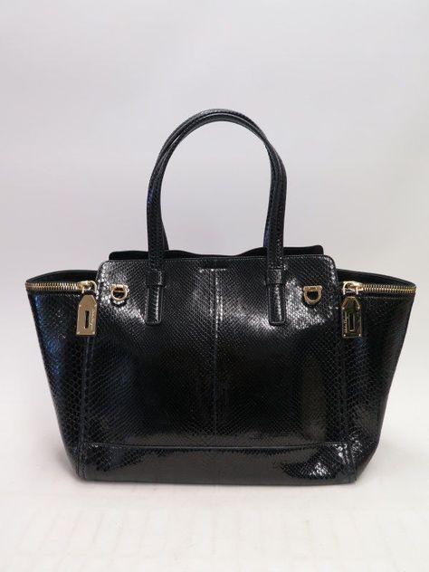 Details about Salvatore Ferragamo Verve Tote Bag Black Python Double-Zip  Large Shoulder Bag 35143dddb2