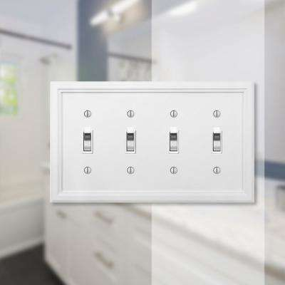 Amerelle Elly 4 Gang Toggle Composite Wall Plate White 4052t4w The Home Depot Plates On Wall Electrical Box Cover Stylish Decor