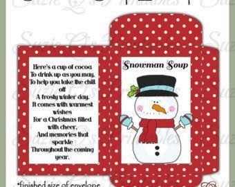 Snowman Cocoa Envelope Digital Printable Good Seller for | Etsy