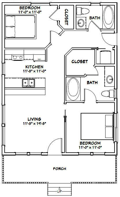 24x32 House 2 Bedroom 2 Bath Pdf Floor Plan 768 Sq Ft Model 3 Ebay Tiny House Floor Plans Small House Plans Tiny House Plans