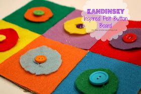 School Time Snippets: Kandinsky Inspired Felt Button Board {Fine Motor Friday} - Helps your little one practice with buttons
