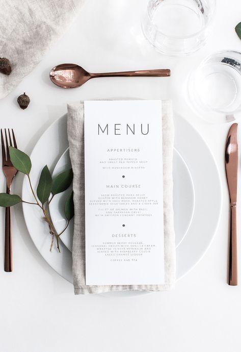 Wedding Menu Template, Wedding Menu Cards, Wedding Table Settings, Wedding Signs, Wedding Dinner Menu, Wedding Details Card, Boho Beach Wedding, Coastal Wedding Ideas, Modern Wedding Decorations