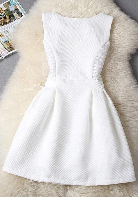 Elegant Sleeveless Pleated Pure Color Fit and Flare Dress