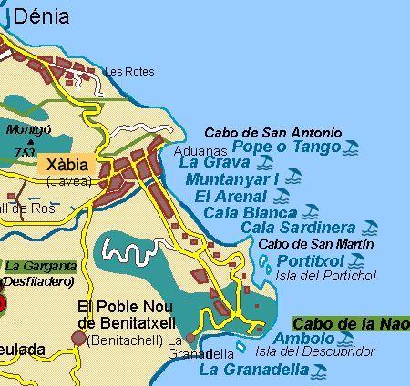Map Of Javea And Beaches We Love Real Estate Casascostablanca Nl Costa Blanca Islas Costa