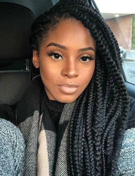 Winter Hairstyles For Natural Hair Car Selfie Of A Woman With Long Dark Brown Dookie Braids Box Braids S Winter Hairstyles Braided Hairstyles Easy Hair Styles
