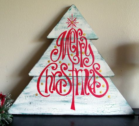 """Merry Christmas Tree Shaped Wooden Sign  13"""" x 14 1/2"""" Hand Painted Wooden Sign. $15.00, via Etsy."""