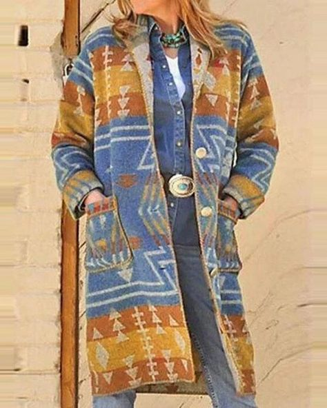 Color-block Print Buttons Down Pocket Vintage Coat – Prilly outwear fashion outwear jacket warm coat outfit coats for women #fallcoats#warm#casualcoats