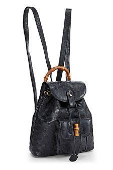d5ee5d4b92 Black Leather Bamboo Tassel Backpack