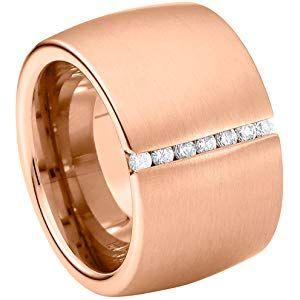 Edelstahl Ring Damenring 5mm Spanring Silber 1 Zirkonia Stein Fingerring