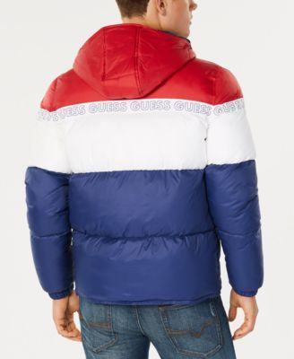 f4a5324bd8b9 Guess Men s Colorblocked Logo-Print Hooded Puffer Coat - Red S