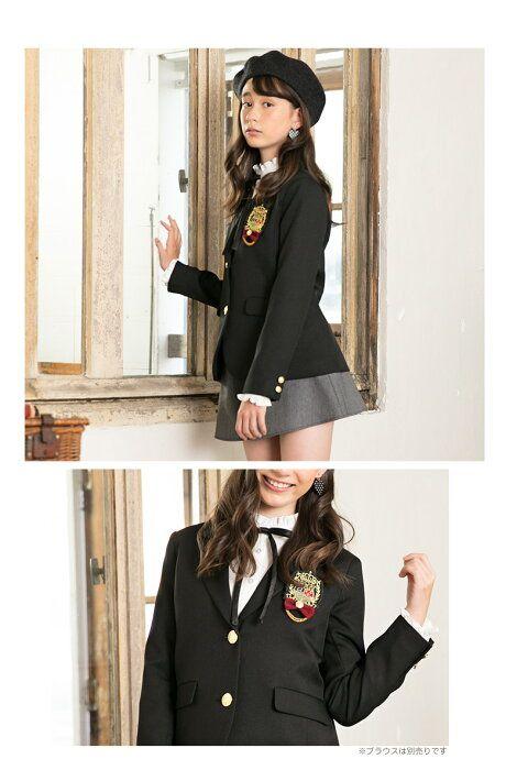 d8bb3238883c4  楽天市場 卒業式 女の子スーツ ヴェルモット ジャケット+キュロット+リボン+ワッペン