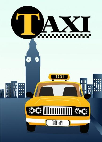 نص الإعلان عن سيارة أجرة السيارة الصفراء رمز لون الكرتون Taxi Advertising Yellow Car Car Icons