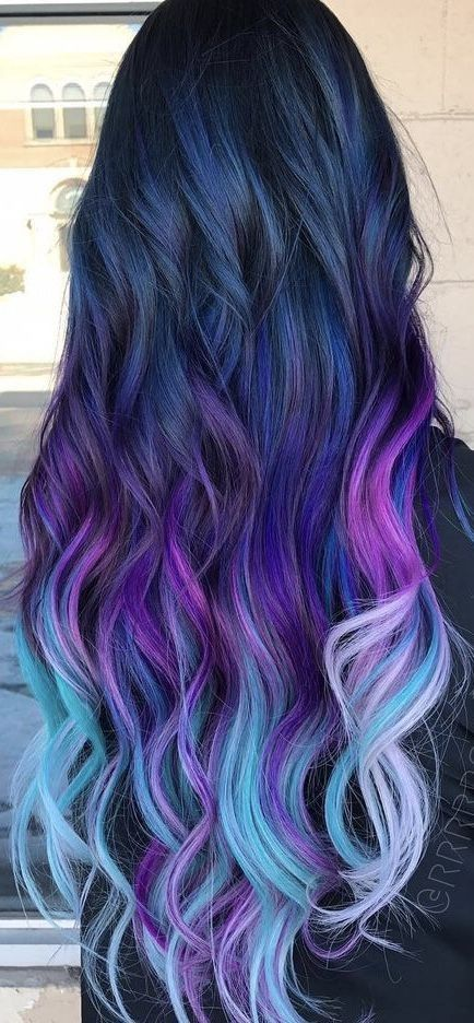 Fantastic Ombre Hair Color Ideas You Should Try This Summer; Ombre Hair Color In Summer; Cute Hair Colors, Pretty Hair Color, Beautiful Hair Color, Hair Dye Colors, Ombre Hair Color, Purple Ombre, Ombre Hair Rainbow, Galaxy Hair Color, Blue Purple Hair