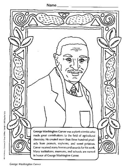 George Washington Carver Coloring Page Black History Month Activities Black History Activities Black History Printables