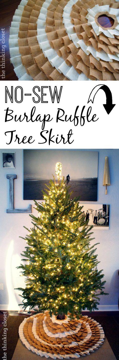 Gorgeous No-Sew Ruffle Burlap Christmas Tree Skirt. Just grab that glue gun and go! | The Thinking Closet