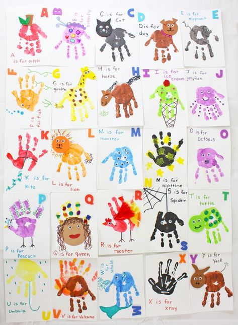 Handprint Alphabet Flashcards is part of Handprint crafts - Kids will learn the alphabet in no time with these homemade handprint alphabet flashcards! This handprint craft is a great learning tool for toddlers Kids Crafts, Toddler Arts And Crafts, Daycare Crafts, Classroom Crafts, Baby Crafts, Daycare Rooms, Infant Classroom Ideas, Crafts For Babies, Baby Footprint Crafts