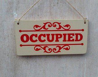 Occupied Vacant Double Sided Bathroom Door Sign Toilet Etsy Room Signs How To Make Wreaths Bathroom Door Sign