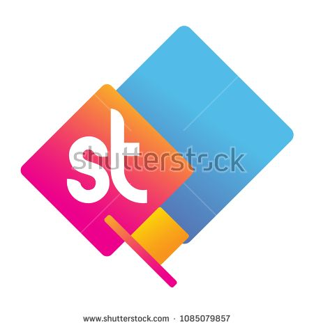 Letter St Logo With Colorful Geometric Shape Letter