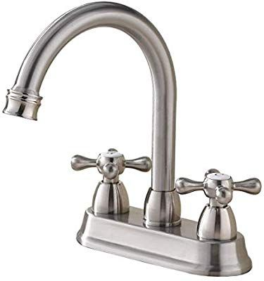 Shaco Best Commercial Brushed Nickel 2 Handle Centerset Bathroom Faucet Stainless Stee Stainless Steel Bathroom Sink Bathroom Faucets Stainless Steel Bathroom