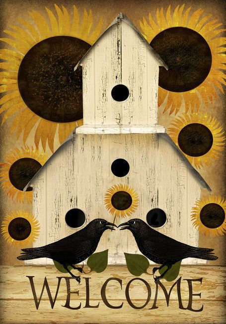 Perfect Welcome Fall Birdhouse Primitive Garden Flag Sunflower Crow Country | EBay