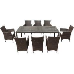 Gartenmobel Set Rattan Dunkelbraun Tisch 220 X 100 Cm 8 Sitzer Kissen Weiss Italy Belianibeliani In 2020 Gartenmobel Sets Essplatz Im Freien Terrasse Sitzgruppe