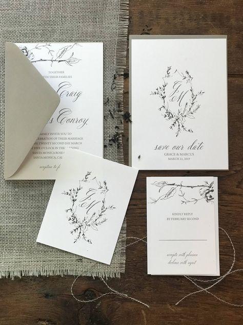Calligraphy Wedding Invitation Modern Calligraphy Invitation | Etsy