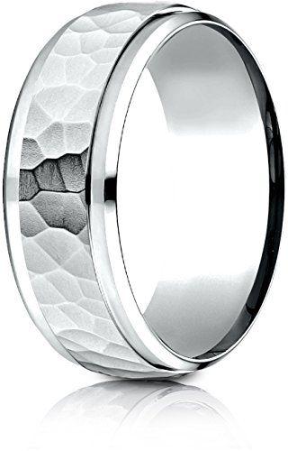 Benchmark 14K White Gold Comfort-Fit 8mm High Polish Edge Hammered Center Design Wedding Band Ring,.