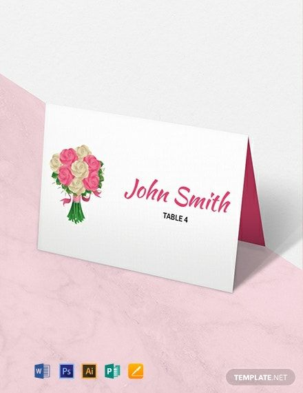 Instantly Download Free Floral Wedding Place Card Template Sample Example In Microsoft W Wedding Place Card Templates Place Card Template Wedding Name Cards