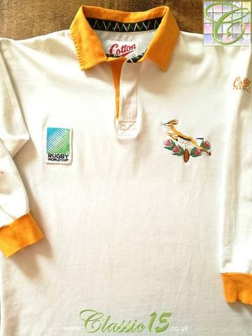 Official Cotton Traders South Africa Away Shirt From The 1995 Rugby World Cup Vintage Rugby Shirts Rugby South Africa Rugby