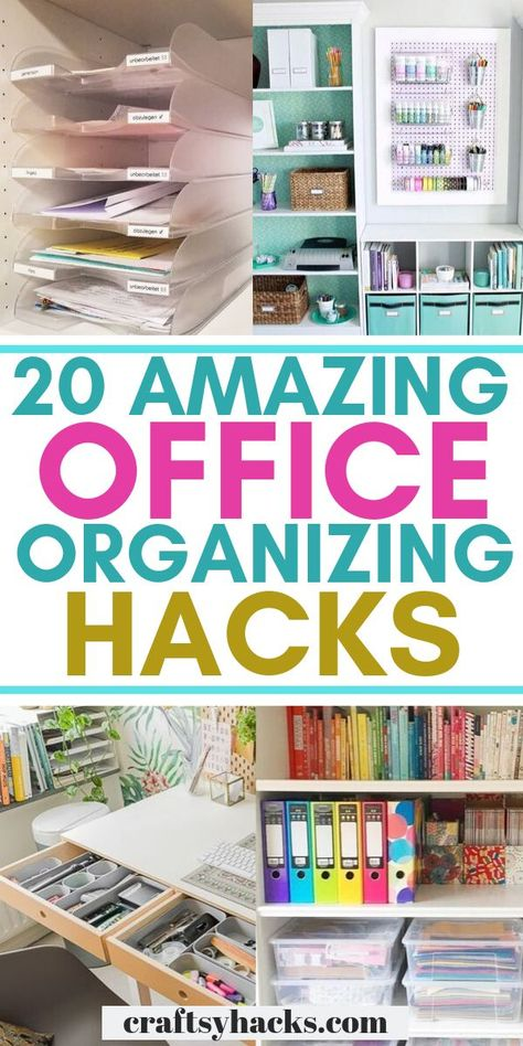 home office space ~ home office ; home office ideas ; home office decor ; home office design ; home office organization ; home office ideas for women ; home office space ; home office ideas on a budget Organisation Hacks, Small Office Organization, Organizing Hacks, Organizing Paperwork, Paper Organization, Desk Hacks, Clutter Organization, Office Hacks, Organizing Paper Clutter