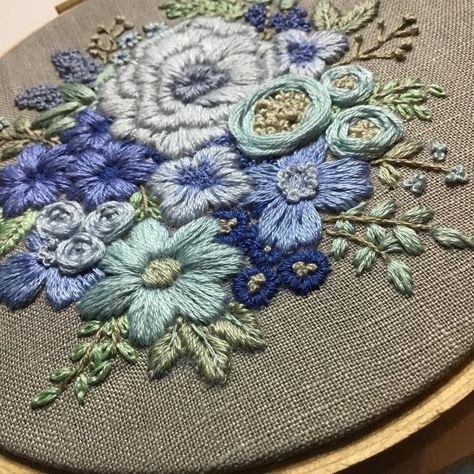Hand Embroidery Pattern. Blue Flower Bouquet. PDF digital | Etsy